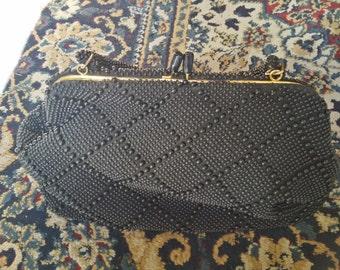 Vintage Bags by Debbie Black Beads purse- Evening, Elegant, Clean look, Ladies Bag, Girls bag, NEW never used