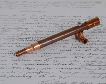 COPPER PEN 5, hand turned pen, industrial pen, unusual pen, tube pen, pipe pen, birthday pen, ball pen, ball point pen, co-worker gift