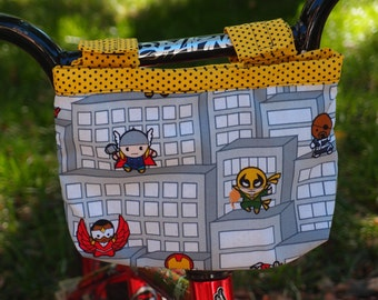 Bicycle Handlebar Bag~Pouch~Fabric Basket Velcro Closure~for Adults or Kids~CUSTOMIZABLE