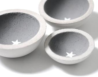 3 little concrete bowls bowl