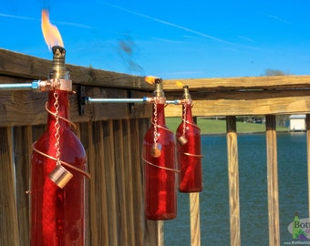 Two 750ml Red Wine Bottle Tiki Torches - Gifts for Mom - Garden Decor - Outdoor Lighting - Wine Bottle Tiki - Outdoor Lighting - Gift Idea