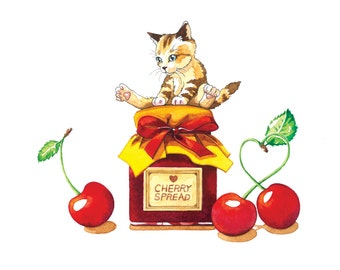 Cherry spread-Illustration print 4*6