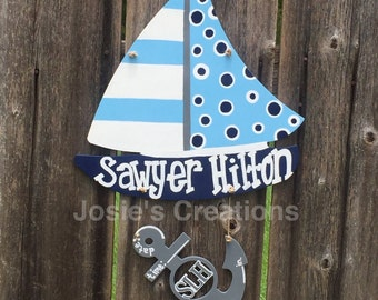 Sail boat with anchor baby hospital door hanger