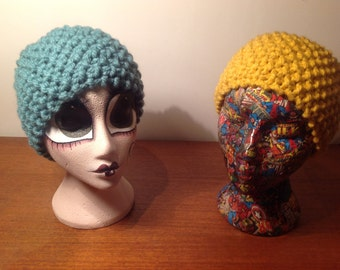 Hand knitted chunky colourful headbands, head wrap, ear warmer, small cowl - bright yellow and turquoise