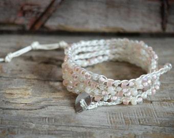 Beaded Crochet Jewelry, Beaded Wrap Bracelet, Boho Beach Jewelry, Crochet Beaded Anklet, Crocheted Jewelry, Crocheted Long Bead Necklace