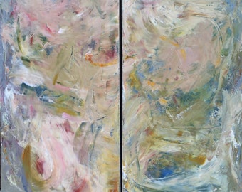 """Original Abstract Acrylic Art Diptych 48x48 """"Skin"""" by Emily Horton - pink, blue, cream, yellow, green"""