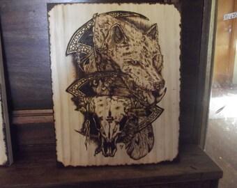 Pyrography Tattoo Art Wolf woodburning