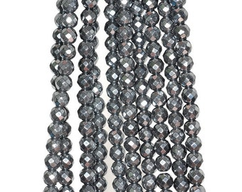 4mm Noir Black Hematite Gemstone Black Faceted Round 4mm Loose Beads 16 inch Full Strand (90190665-B62)