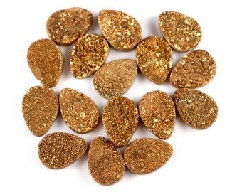 Titanium Gold Druzy Agate 18x13MM Teardrop Cabochon Cab BULK LOT (90183077-C1)