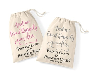 Fairytale wedding his and hers matching gift bag set | Wedding morning keepsake gift wrap idea | lived happily ever after | Mr and Mrs set