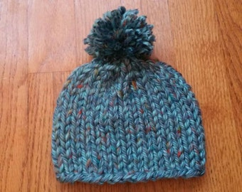Blue Speckled Baby Pom Pom Hat