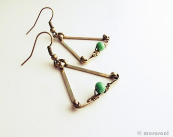 Earrings - green - brass triangles