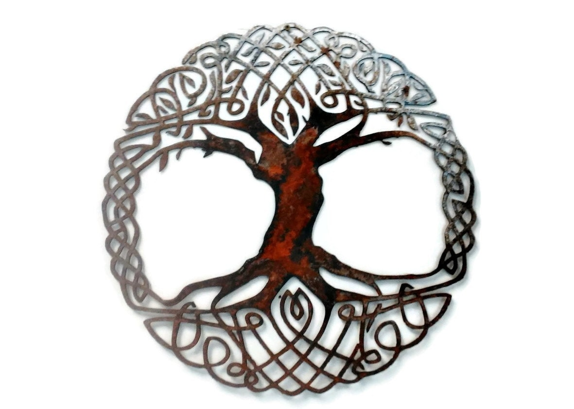 metal wall art tree living room decor celtic knot tree of life recycled metal tribal art