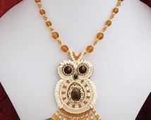 Bead embroidery Pendant owl, pendant owl, seed bead jewelry