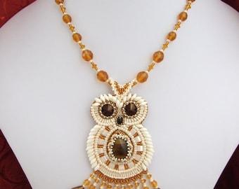 SOLD. Bead embroidery Pendant owl, pendant owl, seed bead jewelry