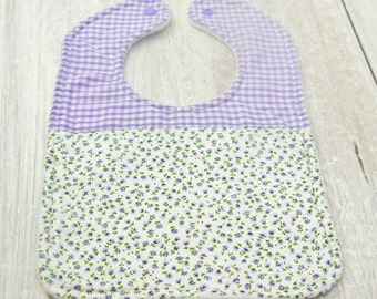 baby and toddler girl handmade cotton and fleece feeding bib, purple, flower, floral, check