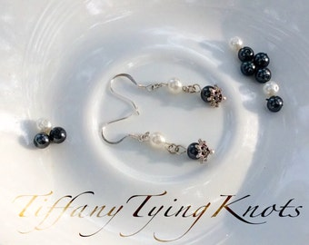 Black and White Pearl Sterling Silver Earrings