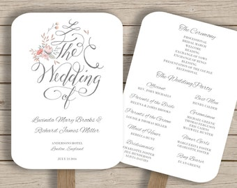 Wedding Program Fan Template - DIY Printable Order of Service - Editable in Word - Calligraphy and Flowers