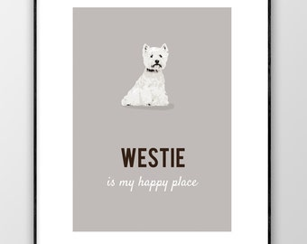 West Highland Terrier Print, West Highland Wall Art, West Highland White Poster, Westie Lovers Gift, Dog Art, Digital Print