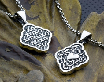 Small Size xoxo's Two Sided Reversible Necklace Pendant with Heart - X O X O X O hugs and kisses