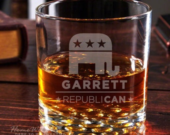 Buckman Premium Quality Whiskey Glass - RepubliCAN Design - Personalized Engraving - Republican Elephant - Marble Inspired Base