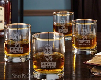 Reagan Right Gold Rim Old Fashioned Glasses, Set of 4 - Great Gift for Fans of Ronald Reagan - Trickle in Some Liquor and Talk Politics!