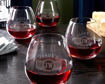 Personalized Stemless Wine Glasses Set of 4 - Marquee Design - Unique Personalized Wine Glasses - Cool Wine Lover Gifts for Dad and Mom