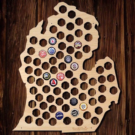 A Michiganders Christmas List Michigan Mac - Michigan bottle cap map