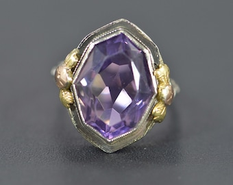 10K 8.00 Ct Amethyst Filigree Vintage Ring Size 7.5 White Gold