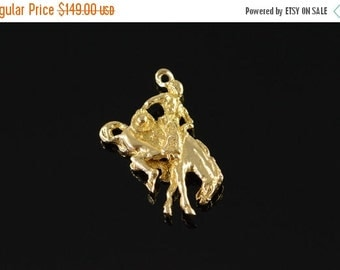 ON SALE 14K Cowboy Horse Rodeo Rider 3D Charm/Pendant Yellow Gold