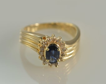 14K 0.78 CTW Sapphire Halo Diamond Ring - Size 5 / Yellow Gold - EL9285