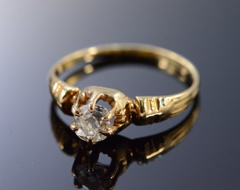 14K 0.48Ct H / VS2 Round Diamond Antique Engagement Ring Size 6.75 Yellow Gold