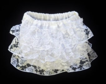 White baby girls diapers, Lace diaper covers, White lace nappy pants, sizes 3,6,12,18 months