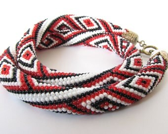Rope ornament  necklace  Ethnic necklace  Geometric pattern   Bead Embroidery Crochet necklace  Beaded necklace FREE SHIPPING