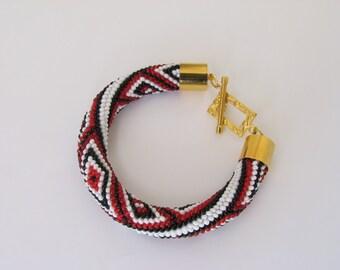 Rope ornament bracelet  Ethnic bracelet Geometric pattern Bead Embroidery Crochet bracelet Beaded bracelet FREE SHIPPING