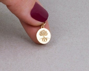 Gold Tree Necklace, Tree Of Life Necklace, Tiny Coin Necklace, Gold Disc Necklace, Dainty Gold Necklace, Family Tree Necklace, Best Friend