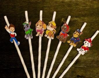Paw Patrol Paper Straws/ Paw Patrol birthday party/ party straws (Set of 12)