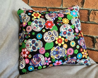 Sugar skull cushion, skull pillow, handmade, day of the dead, alternative, goth, black, Mother's Day
