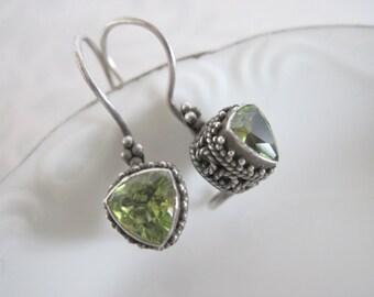 Sterling Silver Peridot Earrings, Green Stone Earrings, Bali Style Silver Earrings, Silver Drop Earrings