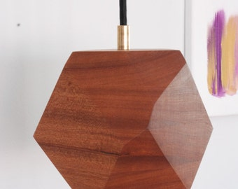 Geometric Sapele Faceted Block Pendant Lamp - Wood Pendant Lamp - Brass and Sapele - Minimalist and Modern Design