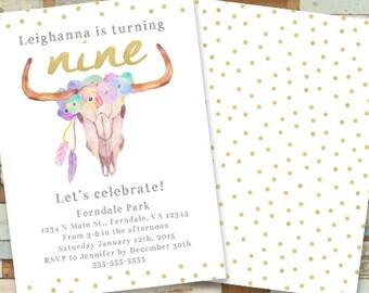 Girl's Boho Birthday Invitation, Flower Crown, Horns, Printable, Digital File