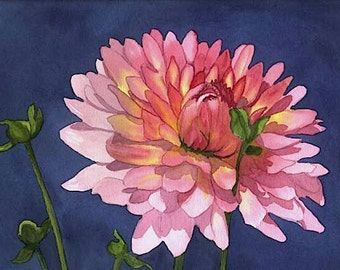 Pink Dahlia print and cards from an original watercolor painting