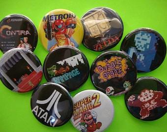 Old School Gamer Pinbacks or Magnets