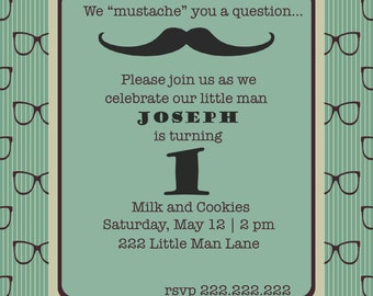 Milk and Cookies Hipster Birthday Invitation with Glasses and Mustache