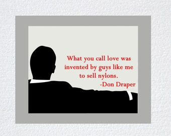 Mad Men Show printed poster, printed art, wall decor, Don Draper quote