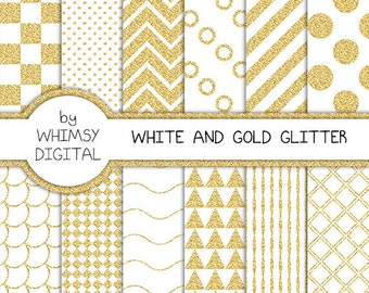 White and Gold Glitter Digital Paper with Checkers, Scallops, Chevron, Polka Dots, Waves, Stripes, Circles, and Triangles in White and Gold