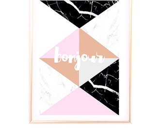 SALE A3 Scandinavian marble geometric 'Bonjour'  print