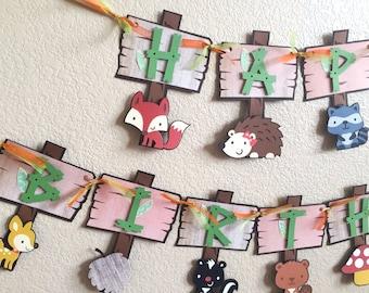 Woodland birthday banner | Forest animals birthday party | woodland theme party | Forest animals banner. | Forest critters birthday pennant.