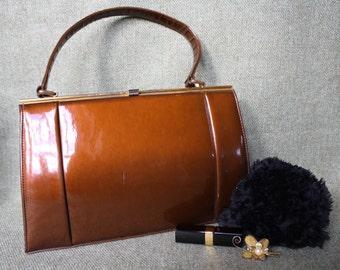 vintage patent leather handbag, tan brown, 1930s, 1940s, 1950s, 1960s