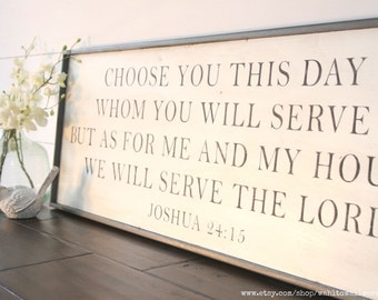 Choose this day whom you will serve but as for me and my house we will serve the Lord sign | wood scripture sign | bible verse wall decor